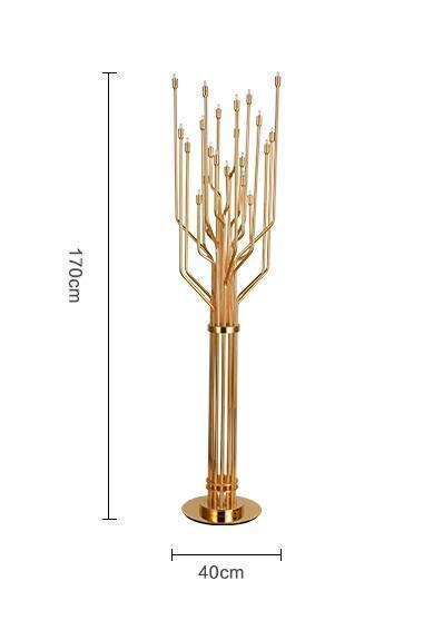 Gold-Colored Modern Tree Lamp - Decorative Floor Lamp, Stainless Steel at Lifeix Design