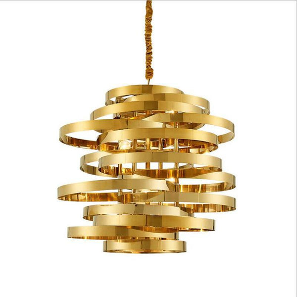 Golden Tornado Chandelier - Luxurious Stainless Steel Lighting Fixture at Lifeix Design