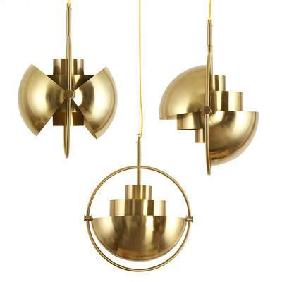 Half Circle Industrial Style Gold Hanging Ball Pendant Light at Lifeix Design