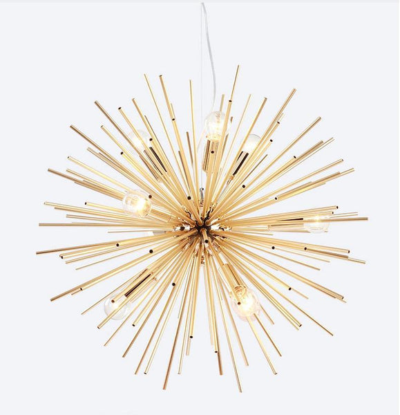 HEDGEHOG Post-Modern Gold Metal Stick Pendant Light at Lifeix Design