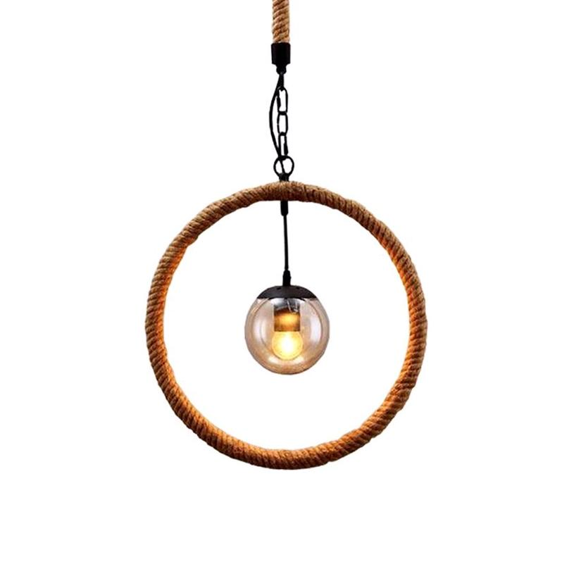 Industrial Retro Hand-woven Hemp Rope Pendant Light at Lifeix Design