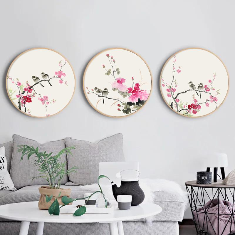 Ink Painting Wall Art With Wood Frame Ming Dynasty Oriental Art Birds And Flowers Wall Art Floral Home Decor Ready To Hang