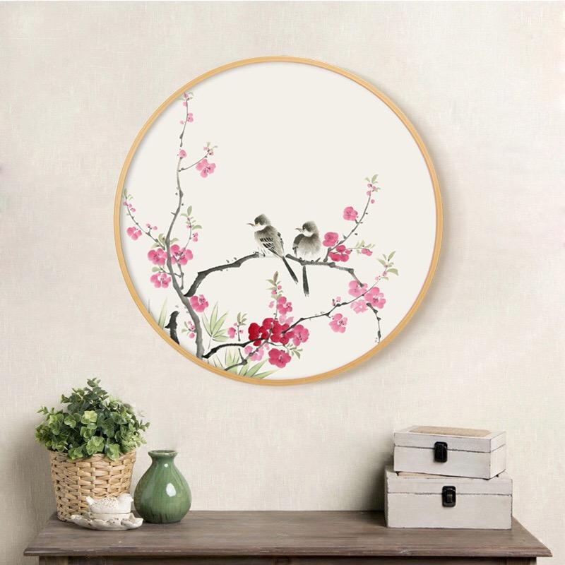Buy Ink Painting Wall Art With Wood Frame Ming Dynasty Oriental Art Birds And Flowers Wall Art Floral Home Decor Ready To Hang At Lifeix Design