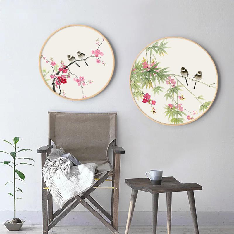 Ink Painting Wall Art with Wood Frame, Ming Dynasty Oriental Art, Birds and Flowers Wall Art, Floral Home Decor, Ready to Hang at Lifeix Design