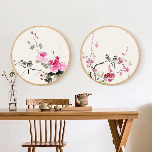 Ink Painting Wall Art with Wood Frame Ming Dynasty Oriental Art Birds and Flowers Wall Art Floral Home Decor Ready to Hang  sc 1 st  Lifeix Design & Shop for Wall Art at Lifeix Design: Art Print Wall Art
