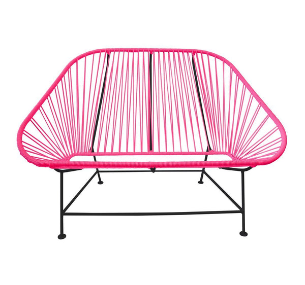 Outdoor Lounge Chair Pink Weave on Black Frame InLove on Black Frame