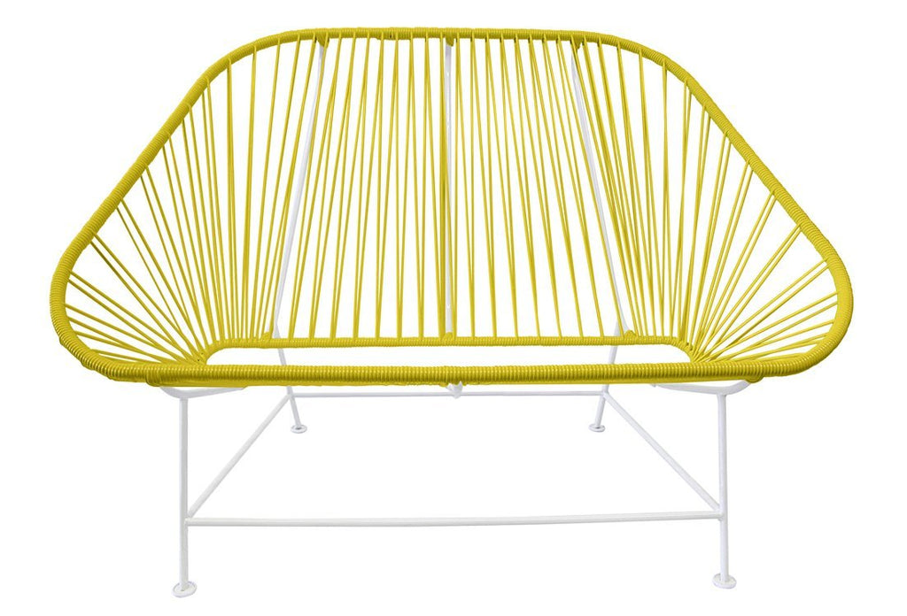 Outdoor Lounge Chair Yellow Weave on White Frame InLove on White Frame