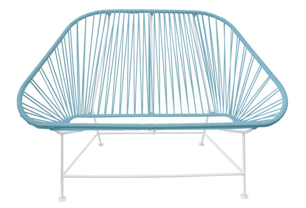 Outdoor Lounge Chair Blue Weave on White Frame InLove on White Frame