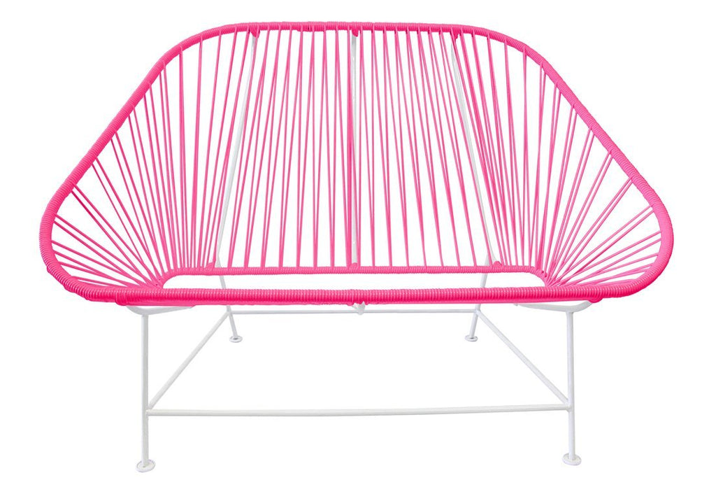 Outdoor Lounge Chair Pink Weave on White Frame InLove on White Frame