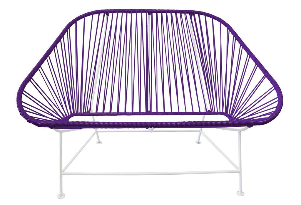 Outdoor Lounge Chair Purple Weave on White Frame InLove on White Frame