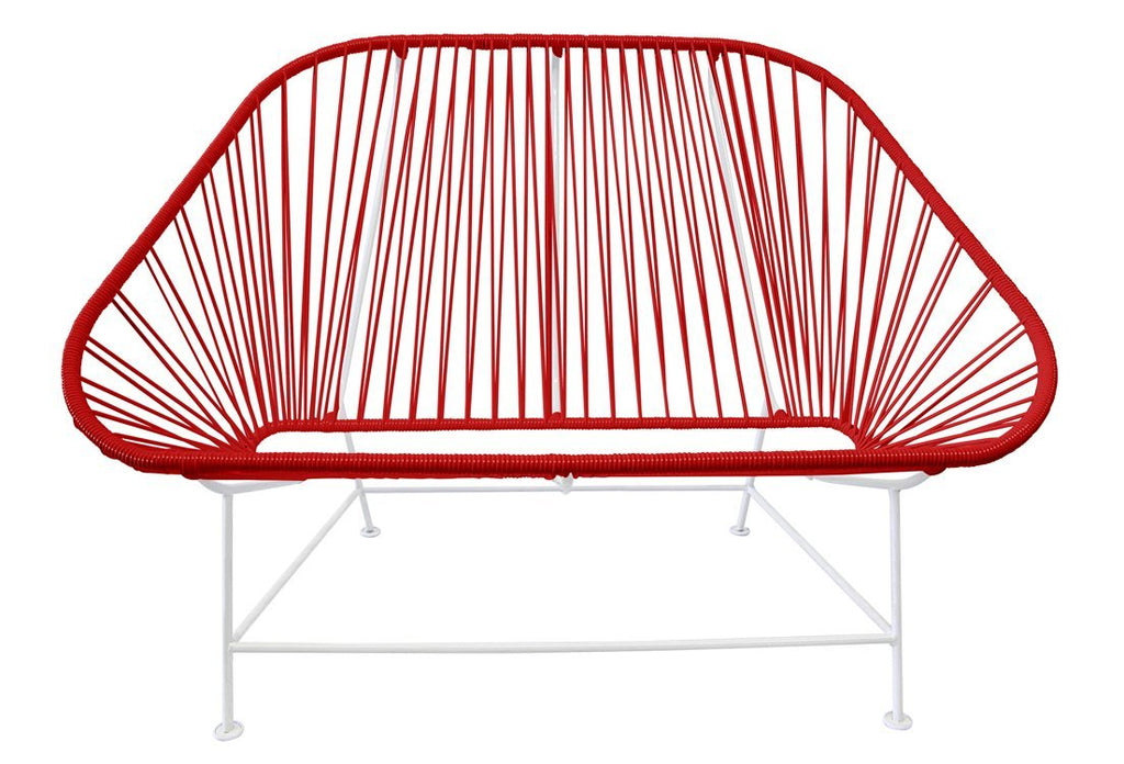 Outdoor Lounge Chair Red Weave on White Frame InLove on White Frame
