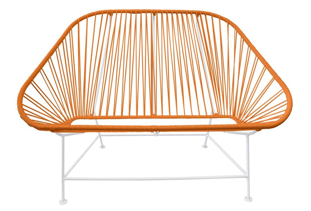 Outdoor Lounge Chair Orange Weave on White Frame InLove on White Frame