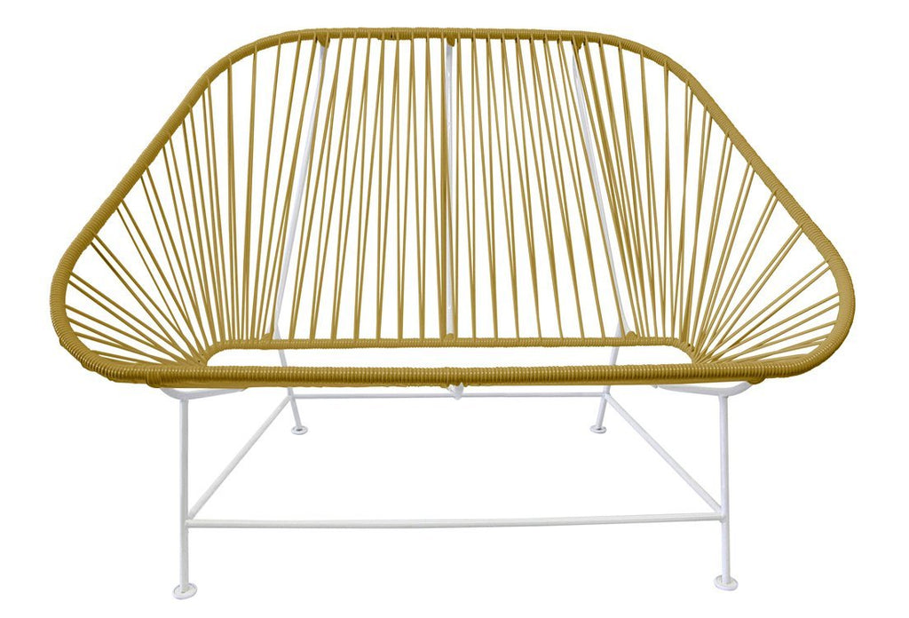 Outdoor Lounge Chair Gold Weave on White Frame InLove on White Frame