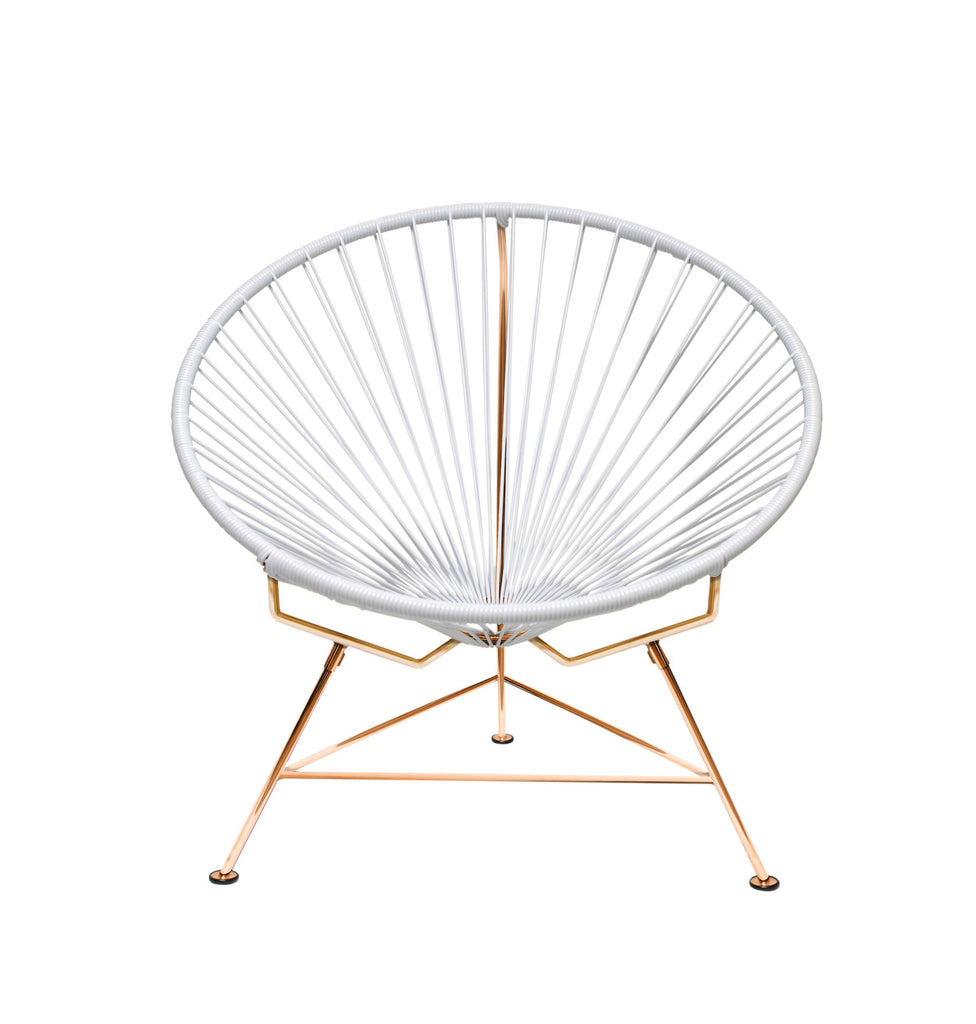 Outdoor Lounge Chair White Weave on Copper Frame Innit Chair on Copper Frame