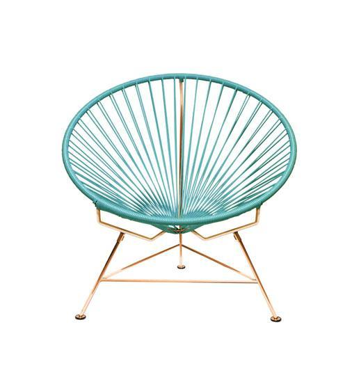 Outdoor Lounge Chair Blue Weave on Copper Frame Innit Chair on Copper Frame
