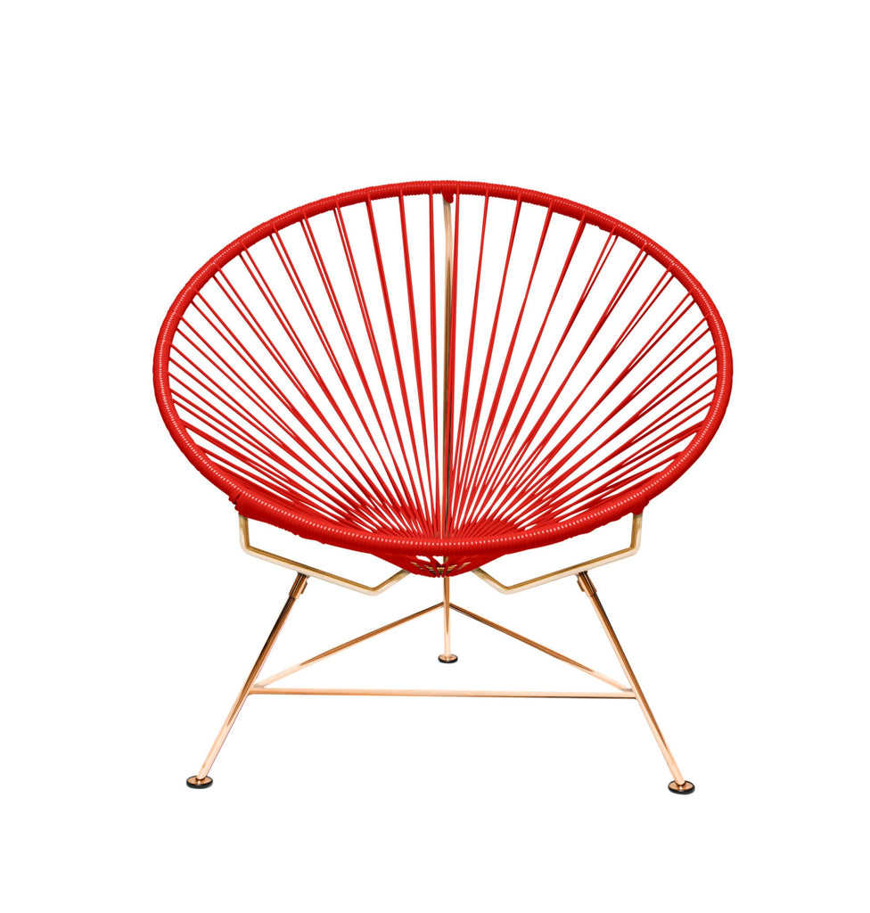 Outdoor Lounge Chair Red Weave on Copper Frame Innit Chair on Copper Frame