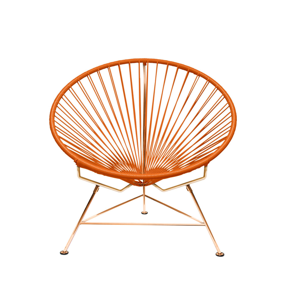 Outdoor Lounge Chair Orange Weave on Copper Frame Innit Chair on Copper Frame