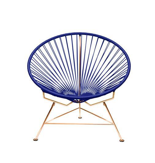 Outdoor Lounge Chair Deep Blue Weave on Copper Frame Innit Chair on Copper Frame