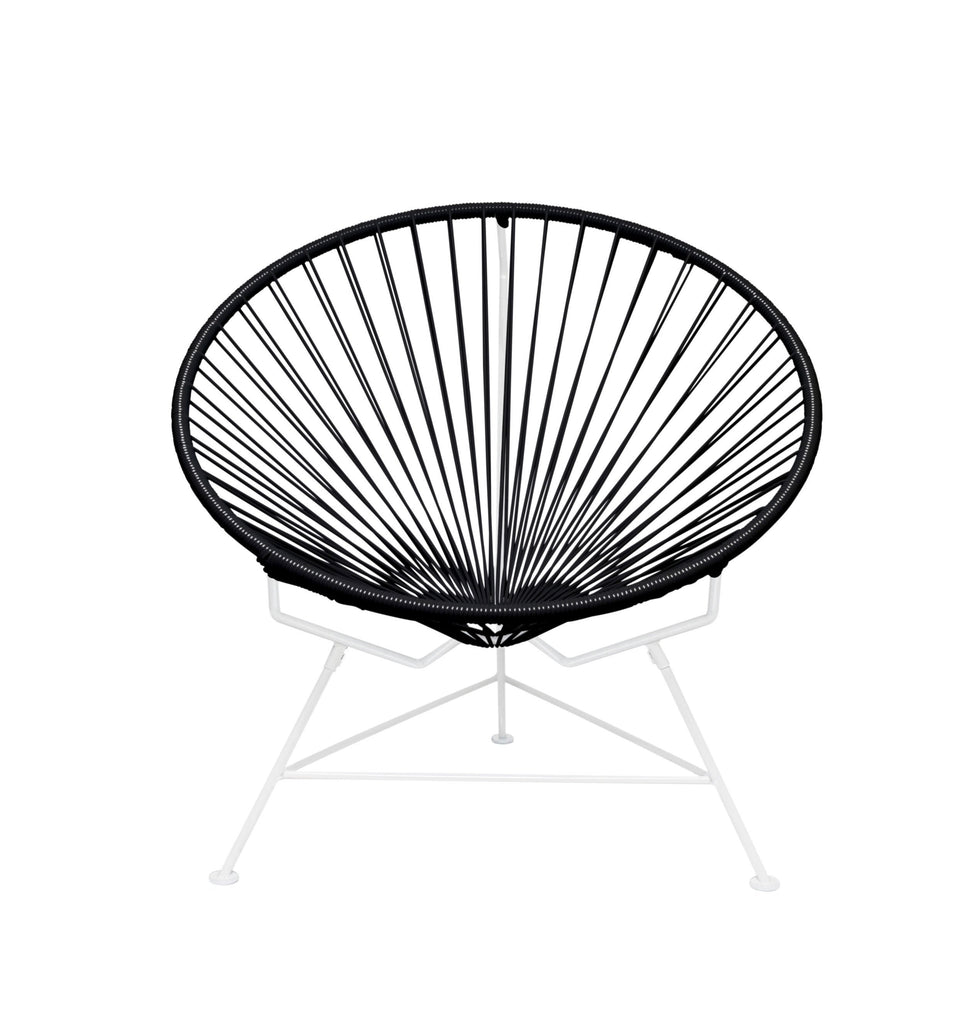 Outdoor Lounge Chair Black Weave on White Frame Innit Chair on White Frame