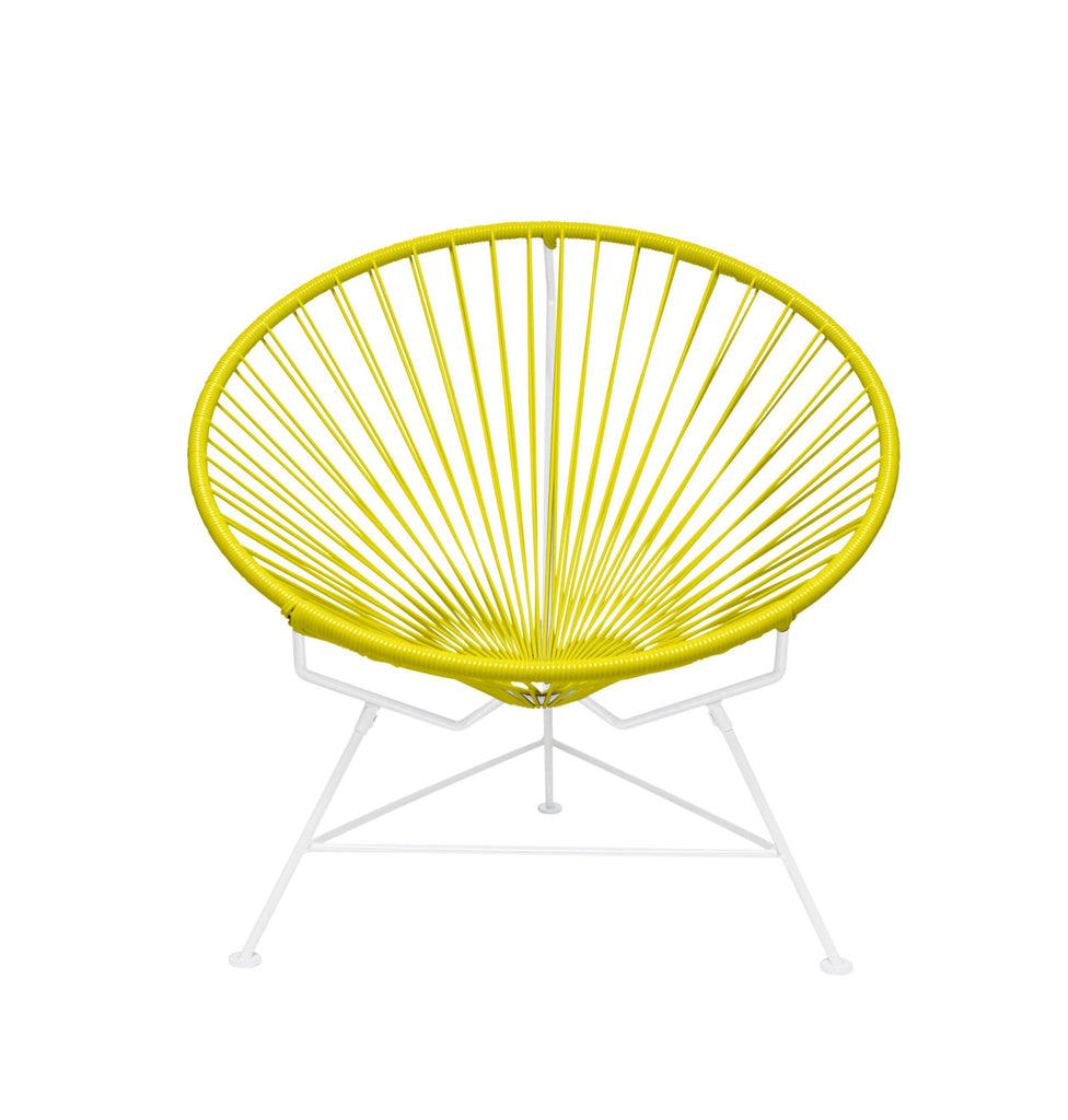 Outdoor Lounge Chair Yellow Weave on White Frame Innit Chair on White Frame