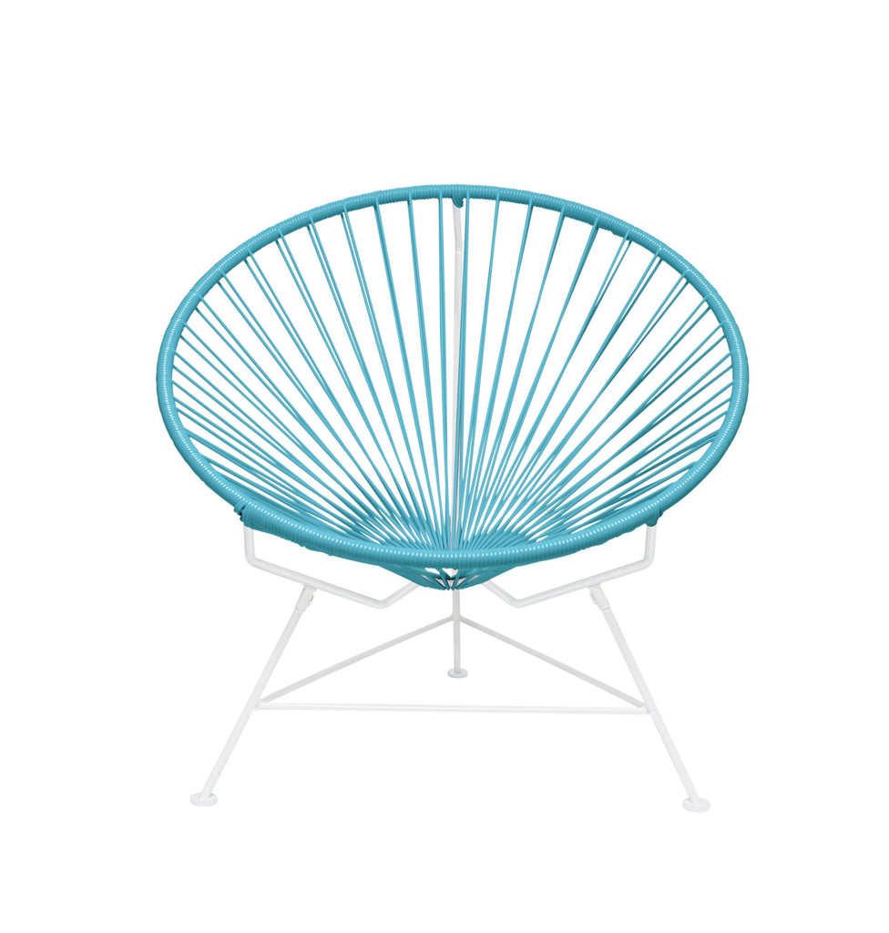 Outdoor Lounge Chair Blue Weave on White Frame Innit Chair on White Frame