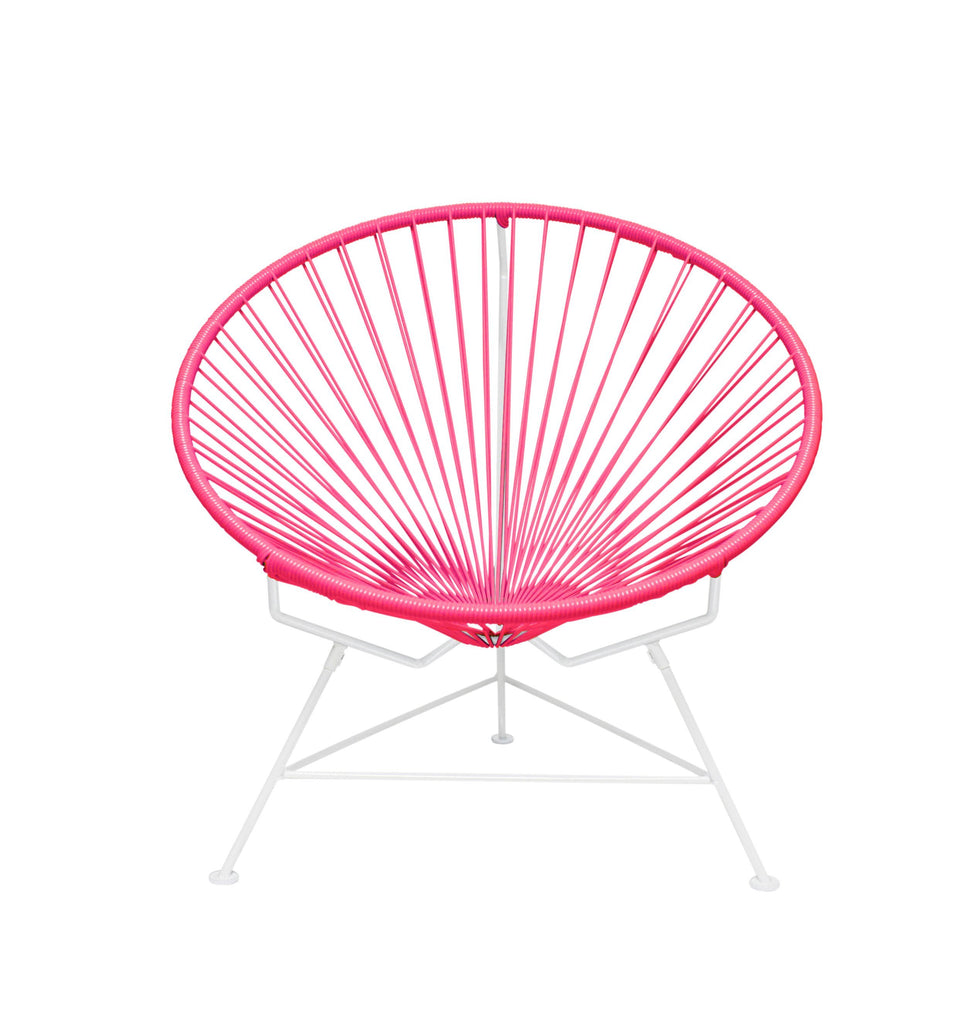Outdoor Lounge Chair Pink Weave on White Frame Innit Chair on White Frame