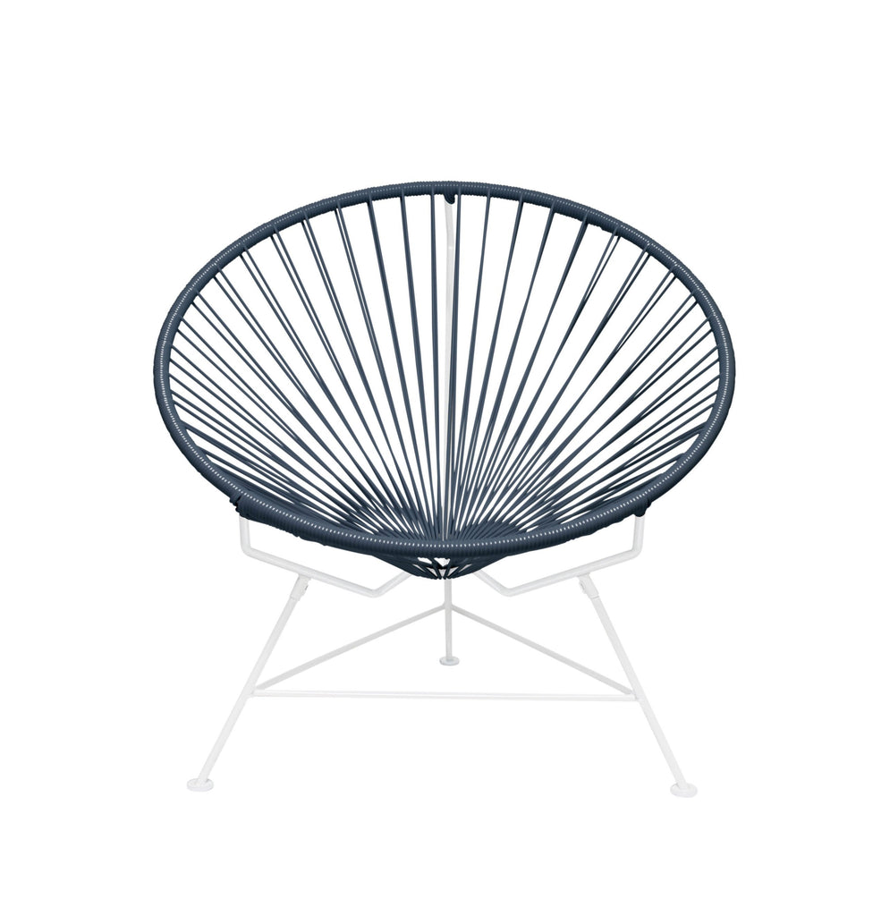 Outdoor Lounge Chair Grey Weave on White Frame Innit Chair on White Frame