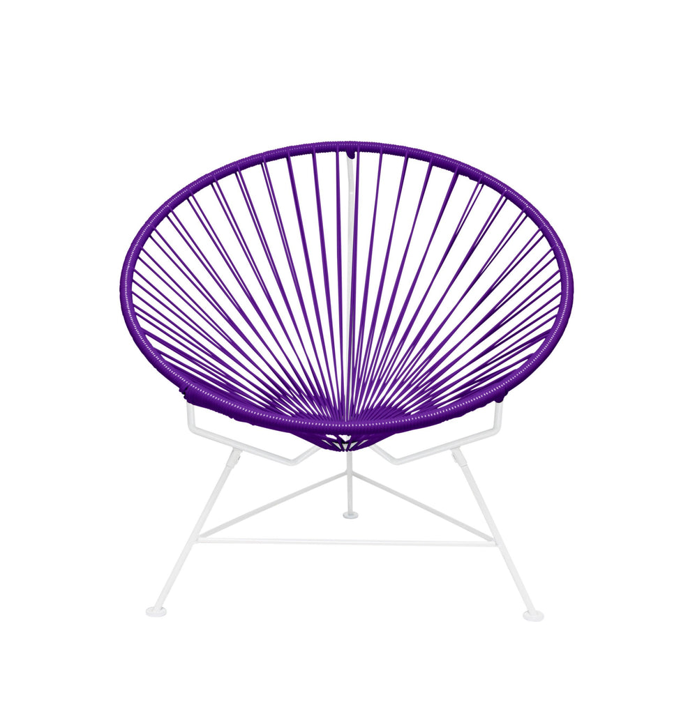 Outdoor Lounge Chair Purple Weave on White Frame Innit Chair on White Frame