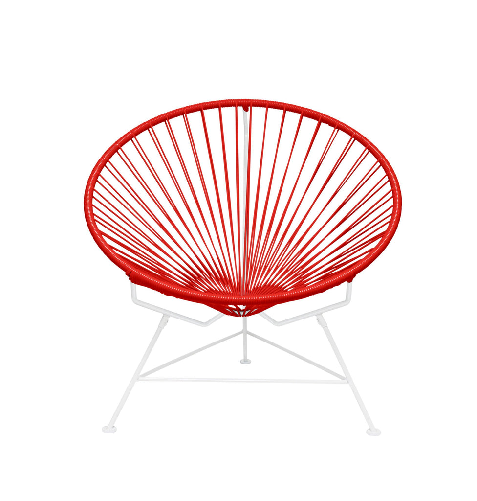 Outdoor Lounge Chair Red Weave on White Frame Innit Chair on White Frame