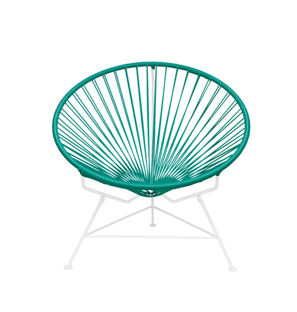 Outdoor Lounge Chair Turquoise Weave on White Frame Innit Chair on White Frame