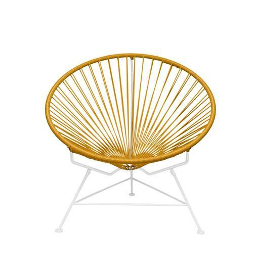Outdoor Lounge Chair Caramel Weave on white Frame Innit Chair on White Frame