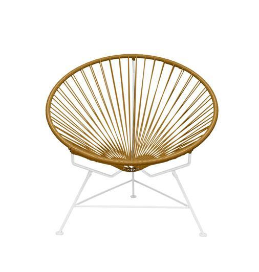Outdoor Lounge Chair Gold Weave on White Frame Innit Chair on White Frame
