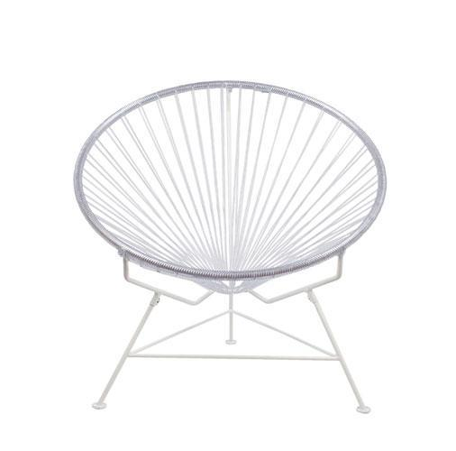 Outdoor Lounge Chair Clear Weave on White Frame Innit Chair on White Frame