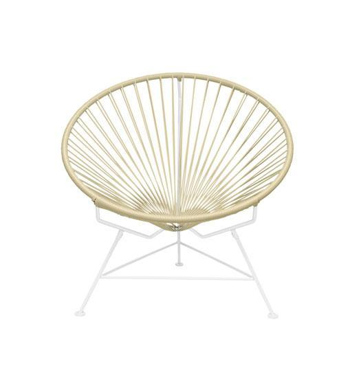 Outdoor Lounge Chair Ivory Weave on White Frame Innit Chair on White Frame
