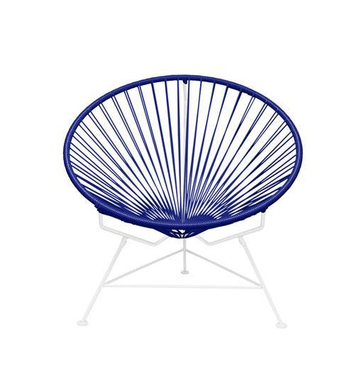 Outdoor Lounge Chair Deep Blue Weave on White Frame Innit Chair on White Frame
