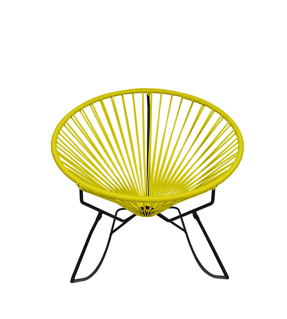 Outdoor Lounge Chair Yellow Weave on Black Frame Innit Rocker on Black Frame