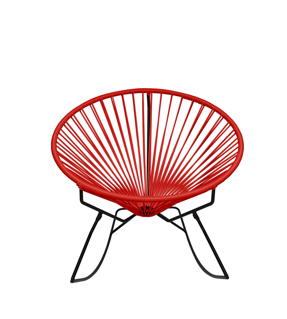 Outdoor Lounge Chair Red Weave on Black Frame Innit Rocker on Black Frame