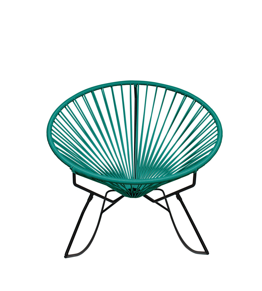 Outdoor Lounge Chair Turquoise Weave on Black Frame Innit Rocker on Black Frame