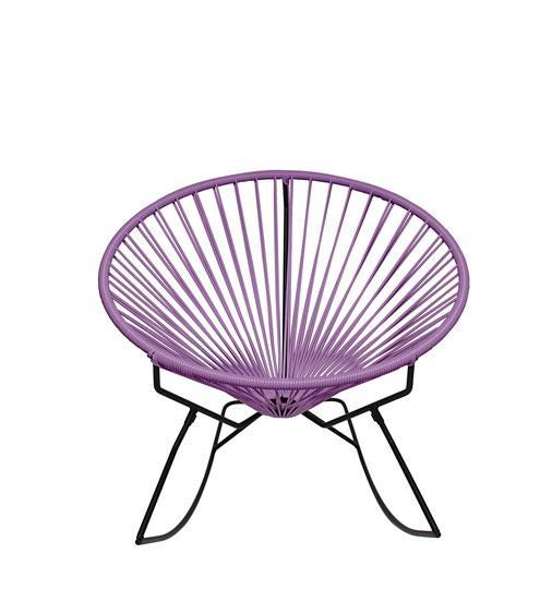 Outdoor Lounge Chair Orchid Weave on Black Frame Innit Rocker on Black Frame
