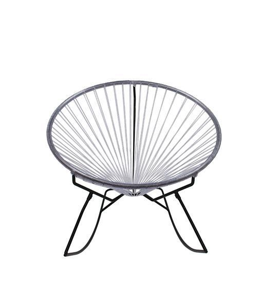 Outdoor Lounge Chair Clear Weave on Black Frame Innit Rocker on Black Frame