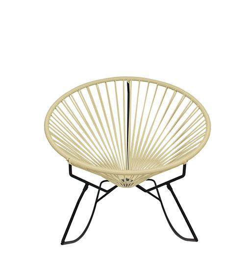 Outdoor Lounge Chair Ivory Weave on Black Frame Innit Rocker on Black Frame