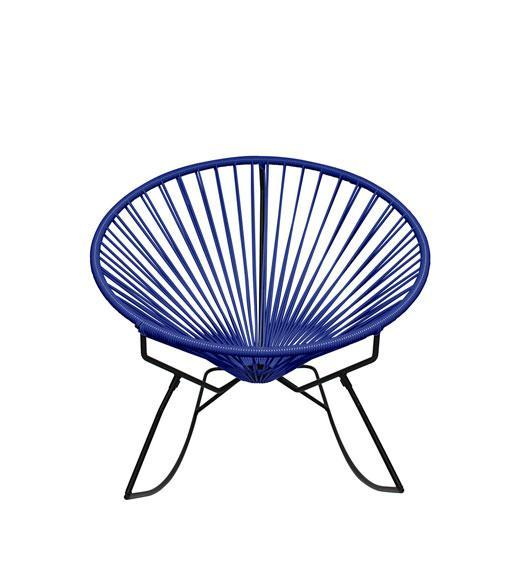Outdoor Lounge Chair Deep Blue  Weave on Black Frame Innit Rocker on Black Frame