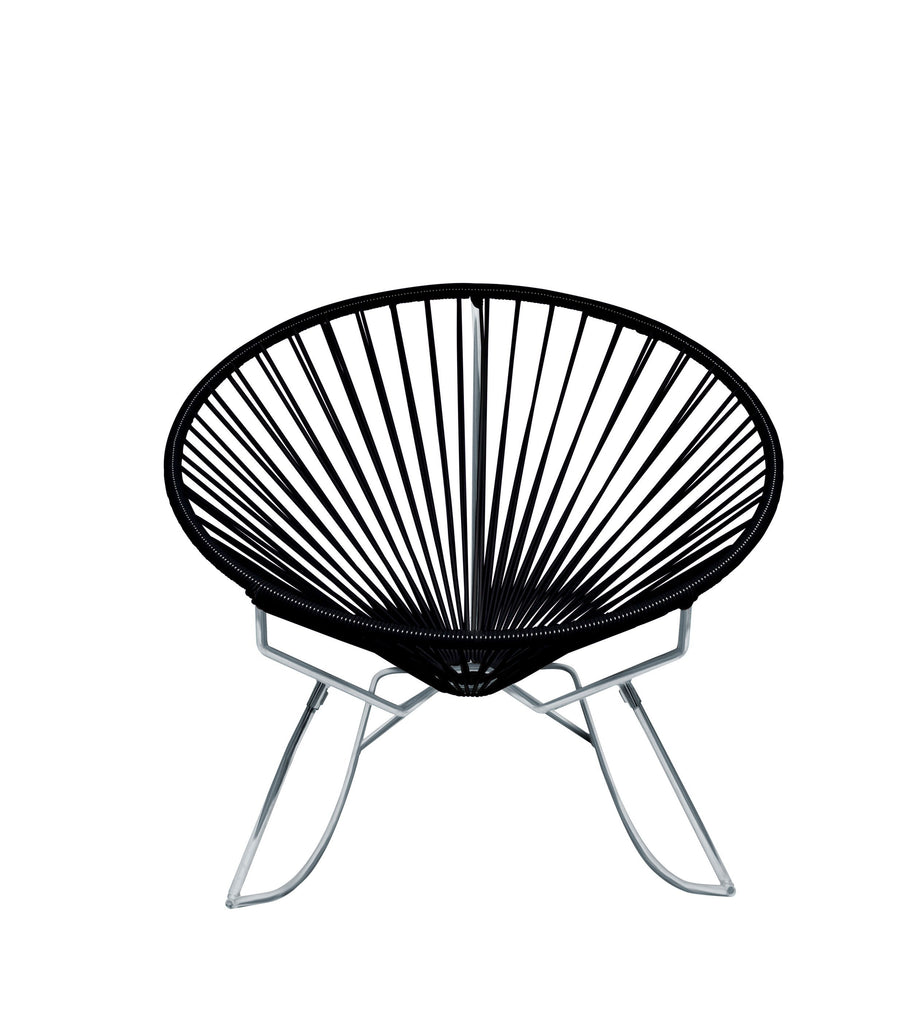 Outdoor Lounge Chair Black Weave on Chrome Frame Innit Rocker on Chrome Frame