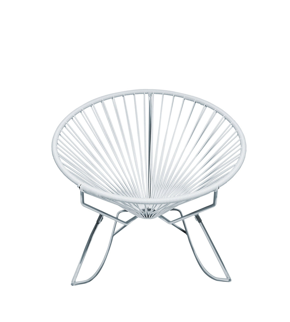 Outdoor Lounge Chair White Weave on Chrome Frame Innit Rocker on Chrome Frame