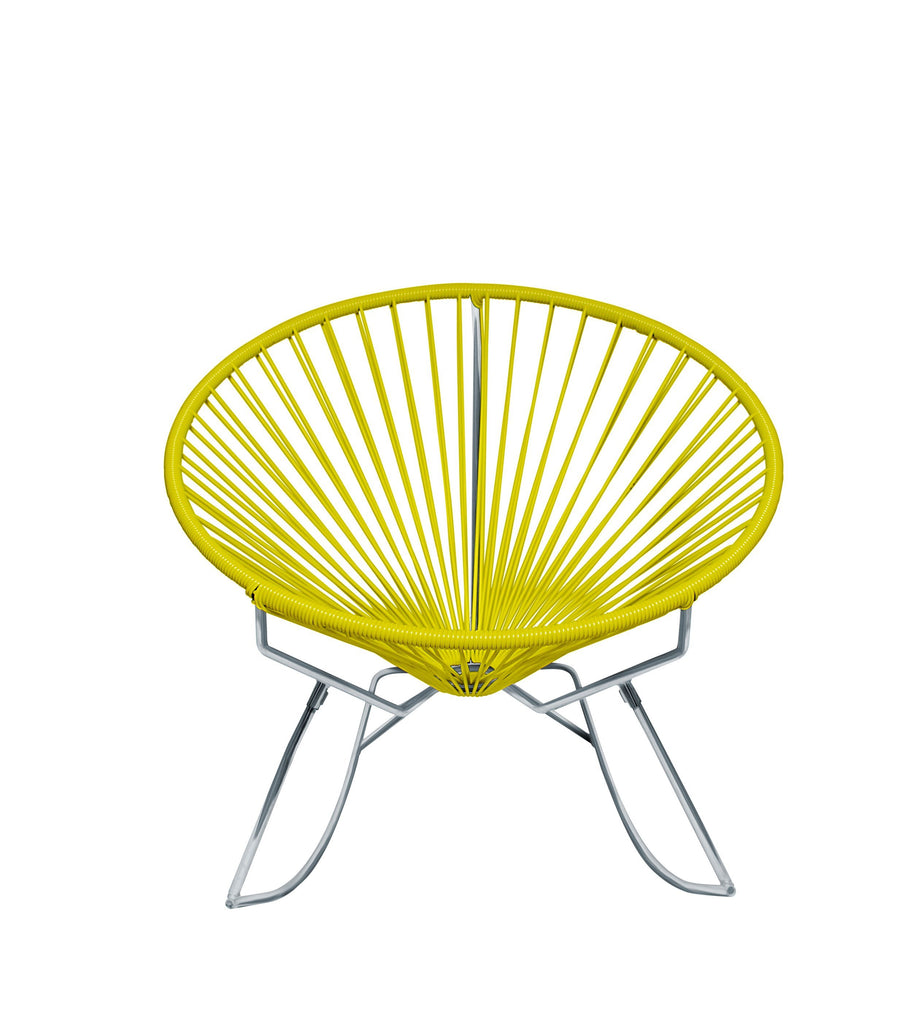 Outdoor Lounge Chair Yellow Weave on Chrome Frame Innit Rocker on Chrome Frame