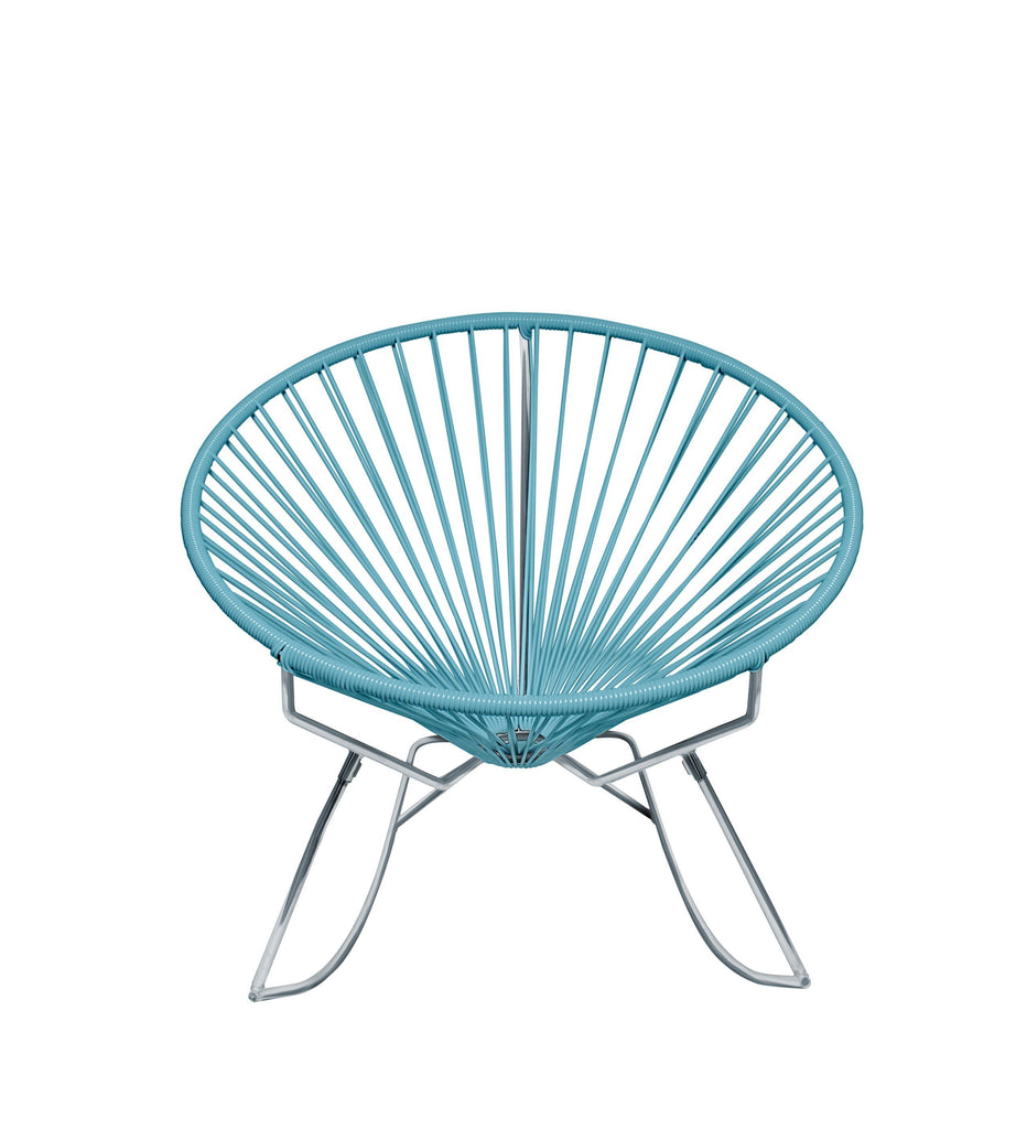 Outdoor Lounge Chair Blue Weave on Chrome Frame Innit Rocker on Chrome Frame