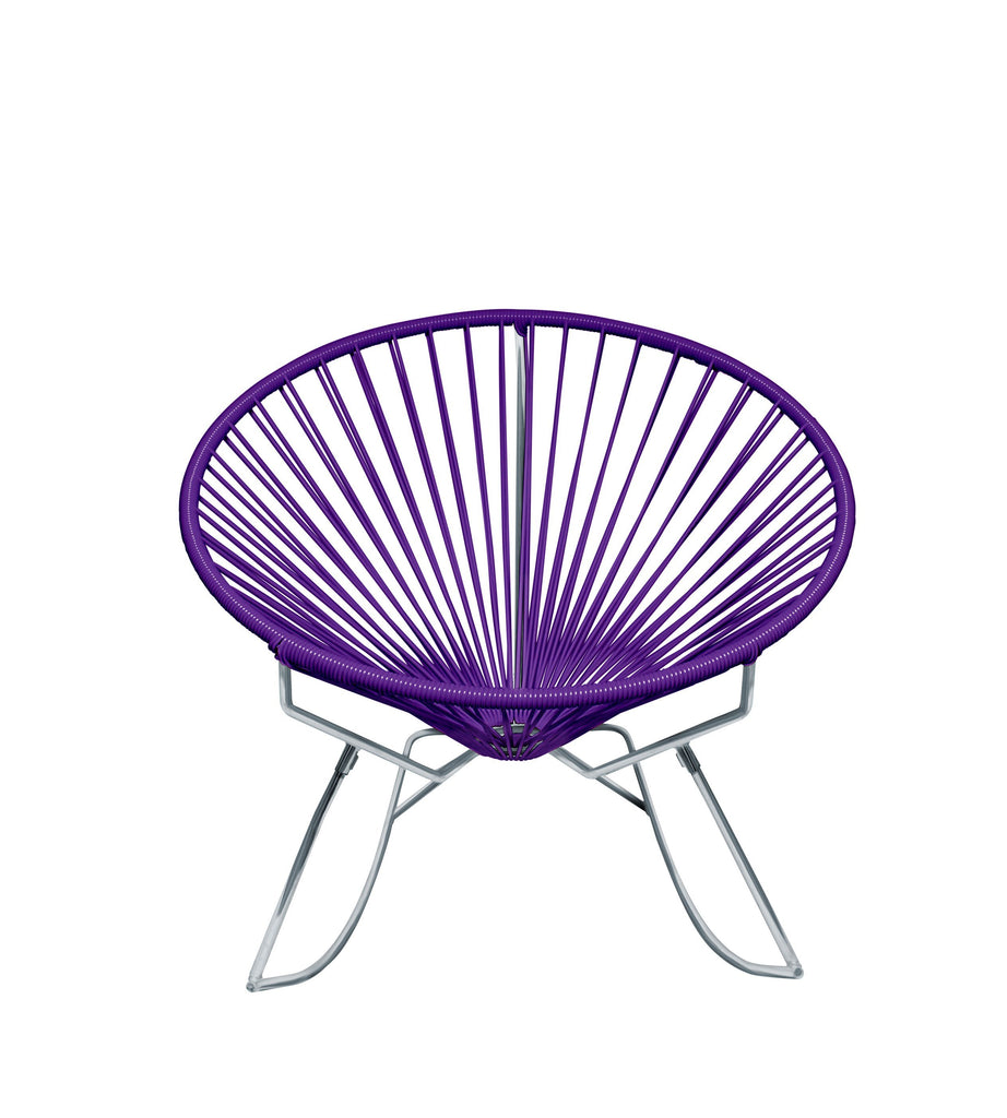 Outdoor Lounge Chair Purple Weave on Chrome Frame Innit Rocker on Chrome Frame