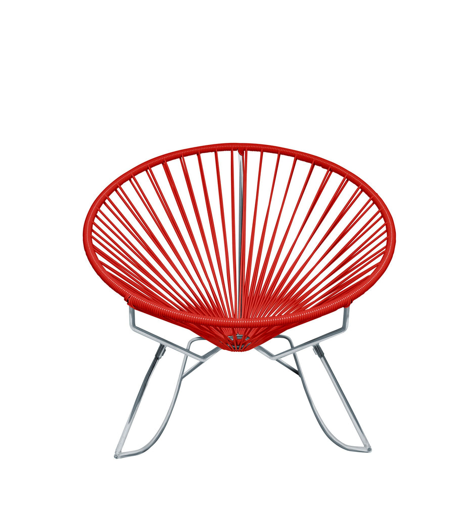 Outdoor Lounge Chair Red Weave on Chrome Frame Innit Rocker on Chrome Frame