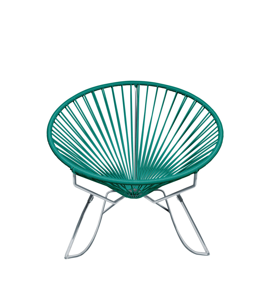 Outdoor Lounge Chair Turquoise Weave on Chrome Frame Innit Rocker on Chrome Frame