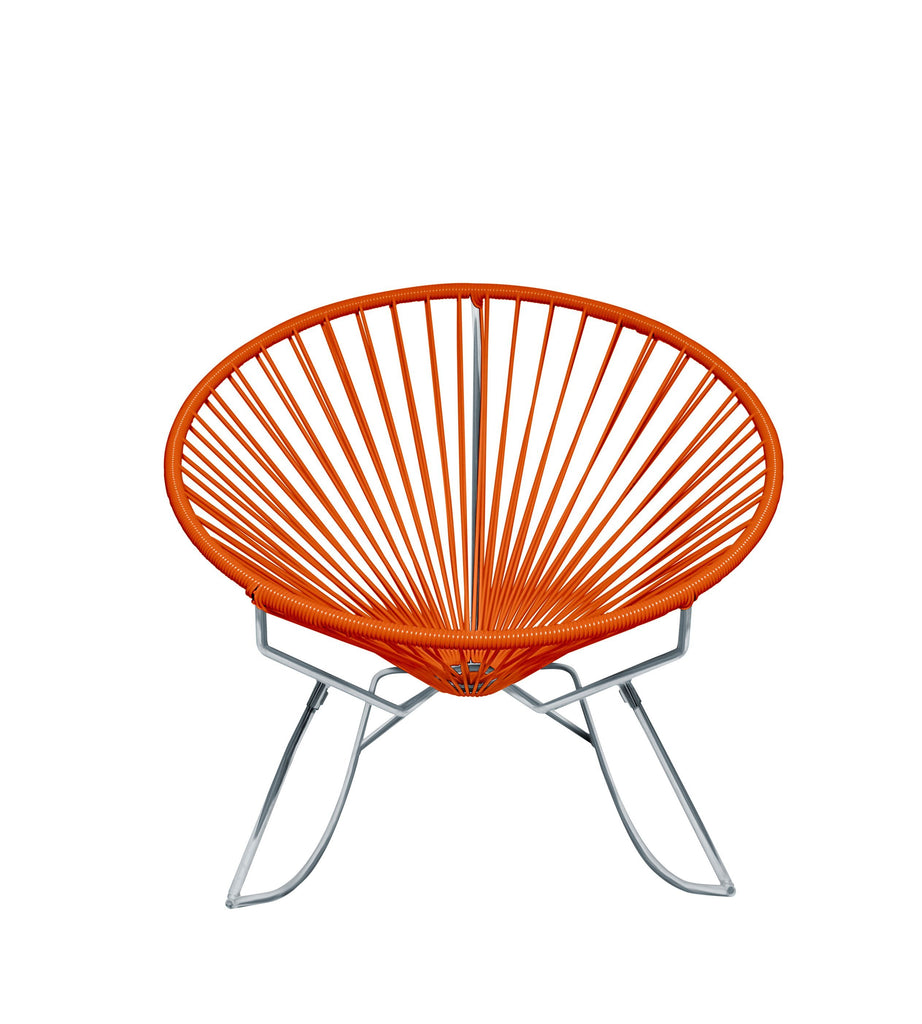 Outdoor Lounge Chair Orange Weave on Chrome Frame Innit Rocker on Chrome Frame